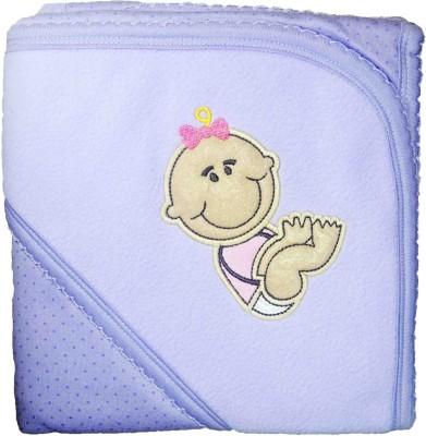Babysid Collections Self Design Single Hooded Baby Blanket Purple