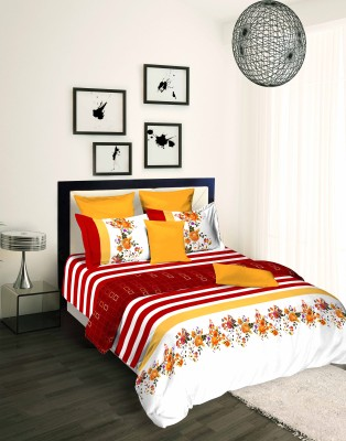 Tangerine Floral King Quilts & Comforters White, Maroon