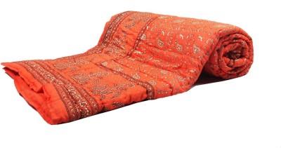 Jaipurtextilehub Floral Single Quilts & Comforters Orange