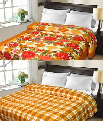Candy House Checkered Double Blanket Brown