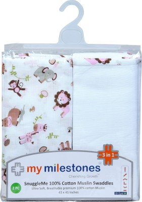 My Milestones Animal Single Swadding Baby Blanket Pink