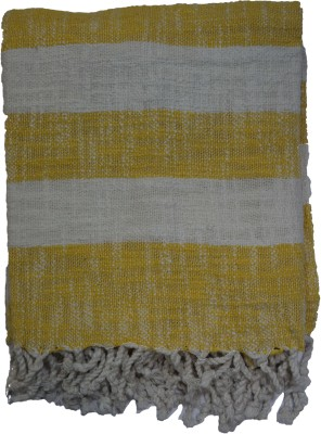 Belle Maison Striped Single Throw Yellow