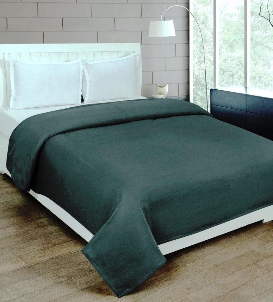 Super India Plain Double Blanket Green(Fleece Blanket, Blanket)