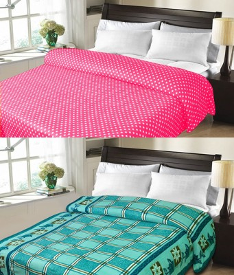 Candy House Checkered Double Blanket Light Blue