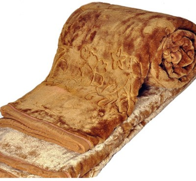 Kalash Floral Double Blanket Gold