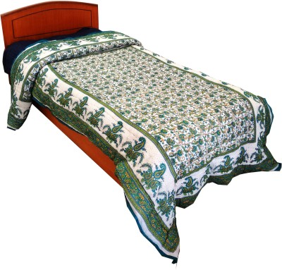 Rajasthan Crafts Floral Single Quilts & Comforters Green