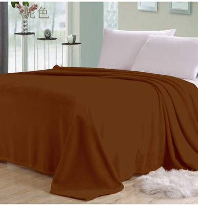 Shiv Fabs Plain Double Blanket Brown