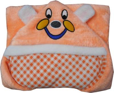 Silver Stone Checkered, Cartoon Single Hooded Baby Blanket Peach