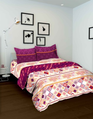 Tomatillo Geometric Double Quilts & Comforters Purple, Beige