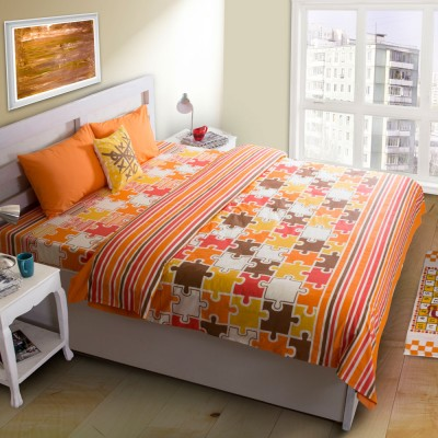 House This Abstract Double Quilts & Comforters Orange