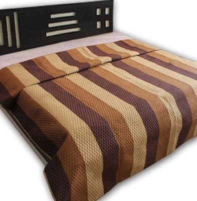 Handicrunch Striped Double Quilts & Comforters Dark Brown