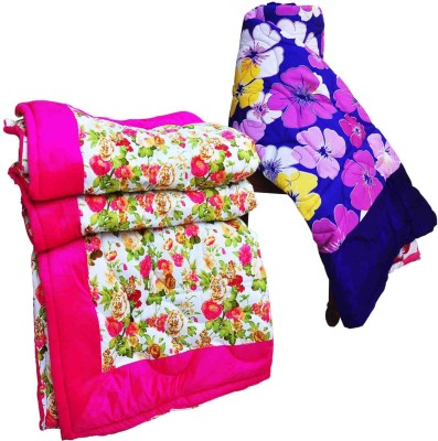 Artisan Creation Floral Single Quilts & Comforters Pink, Blue