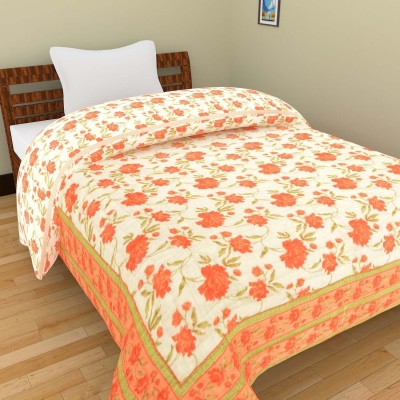 Shra Floral Single Quilts & Comforters White, Orange