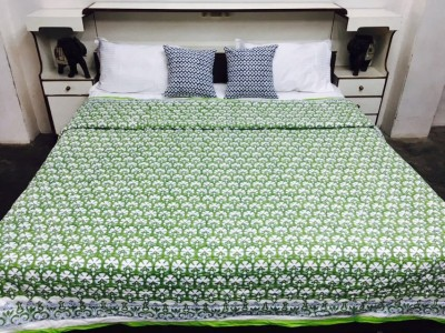 Kairan Jaipur Floral Double Quilts & Comforters Green