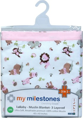 My Milestones Animal Double Swadding Baby Blanket Pink
