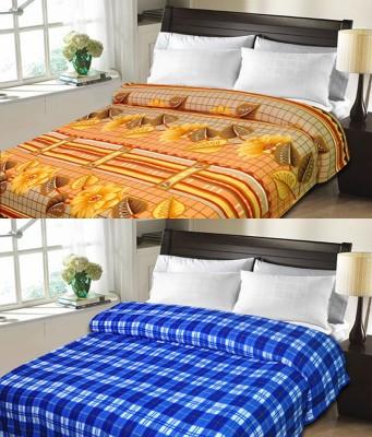 Sanvi Traders Checkered Double Blanket Blue