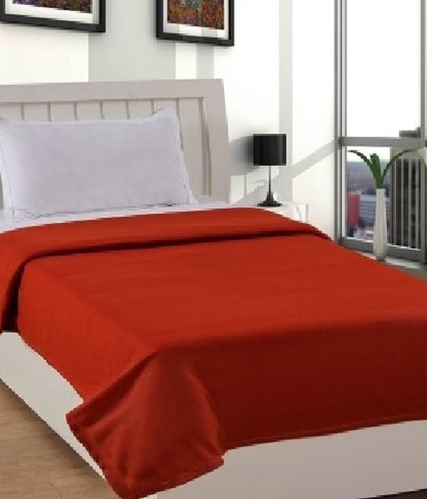 GOYAL FASHIONS Plain Single Blanket Orange(Fleece Blanket)