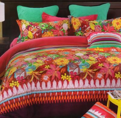 Valtellina Floral Double Blanket Maroon