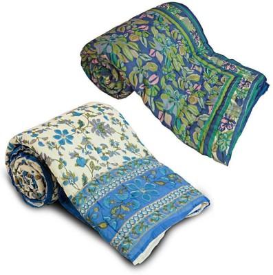 Me Home Floral Single Quilts & Comforters Multicolor, Blue