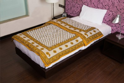 JaipurFabric Floral Single Quilts & Comforters Beige