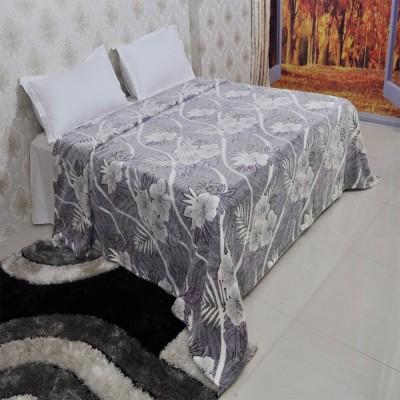 Welhouse India Floral Double Blanket Grey
