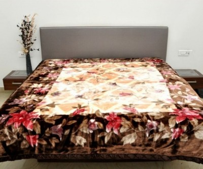 Valtellina Floral Double Blanket Brown
