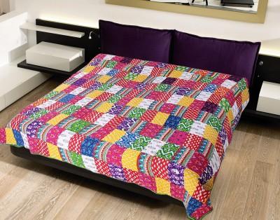 Krishnam Checkered Double Blanket Red, Multicolor