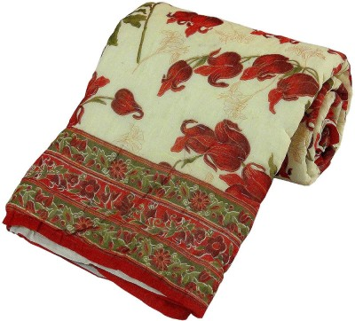 Kiran Udyog Floral Single Quilts & Comforters Beige, Red