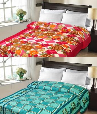 Sanvi Traders Checkered Double Blanket Light Blue