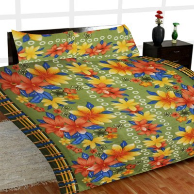 Madhavs Floral Double Blanket Green