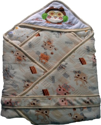 MeeMee Cartoon Single Hooded Baby Blanket Cream