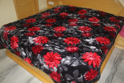 Ndecor Floral Double Blanket Red