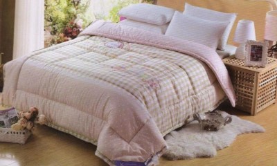 Valtellina Plain Double Quilts & Comforters Pink, Light Brown