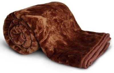 NK Handlooms Plain Double Blanket Brown