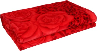 Gujattire Floral Double Blanket Red