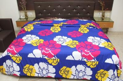 Panipat Handloom Floral Double Blanket Blue