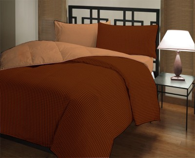 Featherlite Checkered Single Quilts & Comforters Coffee Checks, Beige Plain