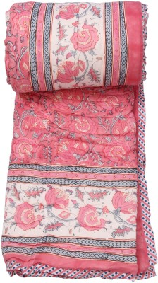 Chhipa Prints Floral Single Quilts & Comforters Pink