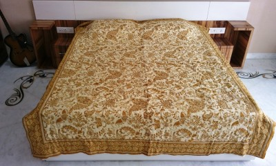 Ethnic Rajasthan Floral Double Quilts & Comforters Beige