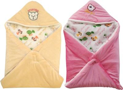 My NewBorn Cartoon Crib Hooded Baby Blanket Beige, Pink