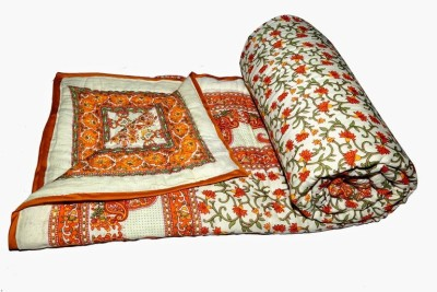 Buy Clues Floral Double Quilts & Comforters Orange