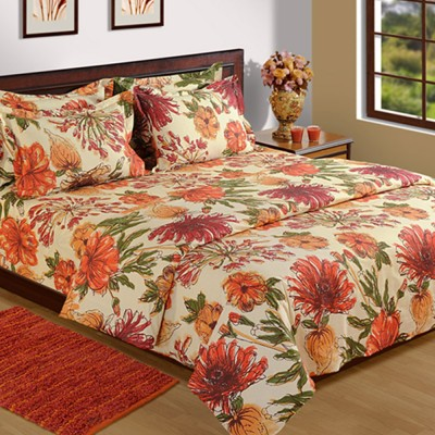 House This Floral Double Quilts & Comforters Maroon