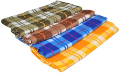 Divine Checkered Single Blanket Green, Brown, Blue, Yellow