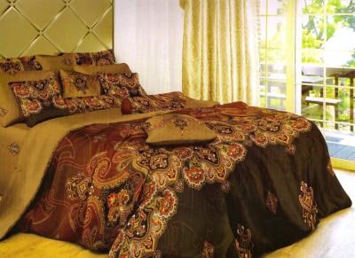 Valtellina Paisley Double Blanket Beige, Brown