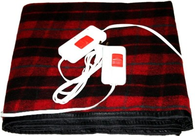 LeoSpark Checkered Double Electric Blanket Maroon