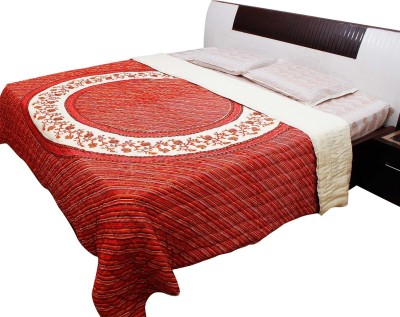 Jaipur Raga Striped Double Quilts & Comforters Red