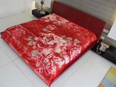 Youngman Floral Double Blanket Red