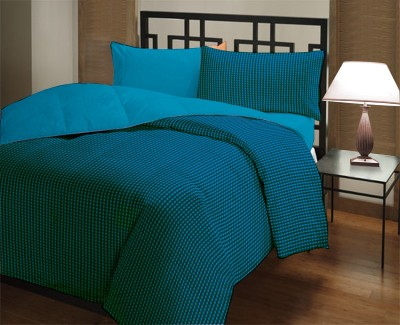 Featherlite Checkered Single Quilts & Comforters Tel Checks, Teal Plain