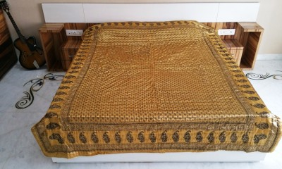 Ethnic Rajasthan Floral Double Quilts & Comforters Gold
