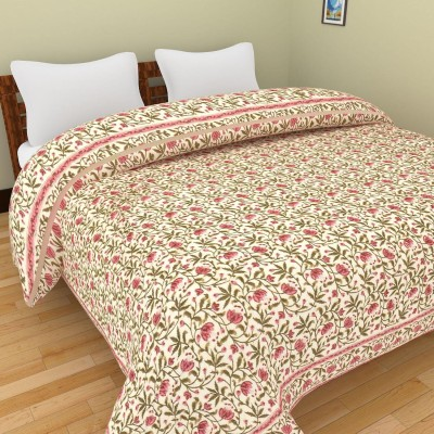 Rajkruti Floral Double Quilts & Comforters Pink